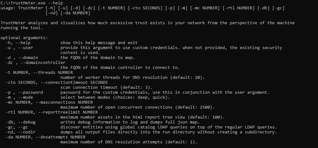 TrustMeter's help menu